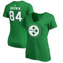 Antonio Brown Pittsburgh Steelers NFL Pro Line by Fanatics Branded Women's St. Patrick's Day Icon Name & Number T-Shirt – Kelly