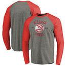 Atlanta Hawks Fanatics Branded Heritage Big and Tall Long Sleeve Tri-Blend Raglan T-Shirt - Heathered Gray