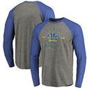 Golden State Warriors Fanatics Branded Heritage Big and Tall Long Sleeve Tri-Blend Raglan T-Shirt - Heathered Gray