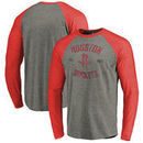 Houston Rockets Fanatics Branded Heritage Big and Tall Long Sleeve Tri-Blend Raglan T-Shirt - Heathered Gray