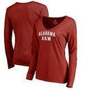 Alabama A&M Bulldogs Fanatics Branded Women's Everyday Long Sleeve V-Neck T-Shirt - Maroon