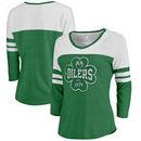Edmonton Oilers Fanatics Branded Women's St. Patrick's Day Emerald Isle Color Block 3/4 Sleeve Tri-Blend T-Shirt - Kelly Green