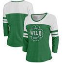 Minnesota Wild Fanatics Branded Women's St. Patrick's Day Emerald Isle Color Block 3/4 Sleeve Tri-Blend T-Shirt - Kelly Green