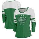Arkansas Razorbacks Fanatics Branded Women's St. Patrick's Day Emerald Isle Color Block 3/4 Sleeve Tri-Blend T-Shirt - Kelly Gre