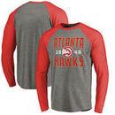 Atlanta Hawks Fanatics Branded Antique Stack Long Sleeve Tri-Blend Raglan T-Shirt - Ash