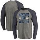 Memphis Grizzlies Fanatics Branded Antique Stack Long Sleeve Tri-Blend Raglan T-Shirt - Ash