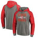 Atlanta Hawks Fanatics Branded Ash Antique Stack Tri-Blend Raglan Pullover Hoodie