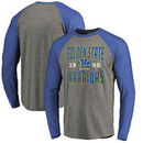 Golden State Warriors Fanatics Branded Antique Stack Big and Tall Long Sleeve Tri-Blend Raglan T-Shirt - Ash