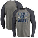 Memphis Grizzlies Fanatics Branded Antique Stack Big and Tall Long Sleeve Tri-Blend Raglan T-Shirt - Ash
