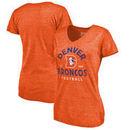 Denver Broncos NFL Pro Line by Fanatics Branded Women's Timeless Collection Vintage Arch Tri-Blend V-Neck T-Shirt - Orange