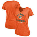 Miami Dolphins NFL Pro Line by Fanatics Branded Women's Timeless Collection Vintage Arch Tri-Blend V-Neck T-Shirt - Orange