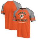Miami Dolphins NFL Pro Line by Fanatics Branded Timeless Collection Vintage Arch Tri-Blend Raglan T-Shirt - Orange