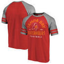 Tampa Bay Buccaneers NFL Pro Line by Fanatics Branded Timeless Collection Vintage Arch Tri-Blend Raglan T-Shirt - Red