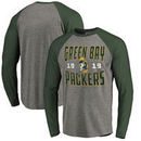 Green Bay Packers NFL Pro Line by Fanatics Branded Timeless Collection Antique Stack Long Sleeve Tri-Blend Raglan T-Shirt - Ash