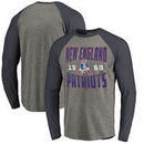 New England Patriots NFL Pro Line by Fanatics Branded Timeless Collection Antique Stack Long Sleeve Tri-Blend Raglan T-Shirt - A