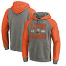Cleveland Browns NFL Pro Line by Fanatics Branded Timeless Collection Antique Stack Tri-Blend Raglan Pullover Hoodie - Ash