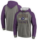 Minnesota Vikings NFL Pro Line by Fanatics Branded Timeless Collection Antique Stack Tri-Blend Raglan Pullover Hoodie - Ash