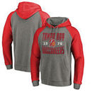 Tampa Bay Buccaneers NFL Pro Line by Fanatics Branded Timeless Collection Antique Stack Tri-Blend Raglan Pullover Hoodie - Ash