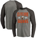Cleveland Browns NFL Pro Line by Fanatics Branded Timeless Collection Antique Stack Big & Tall Long Sleeve Raglan T-Shirt - Ash