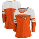 Cleveland Browns NFL Pro Line by Fanatics Branded Women's Timeless Collection Rising Script Color Block 3/4 Sleeve Tri-Blend T-S