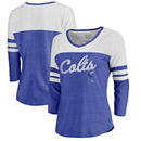 Indianapolis Colts NFL Pro Line by Fanatics Branded Women's Timeless Collection Rising Script Color Block 3/4 Sleeve Tri-Blend T