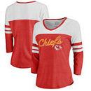Kansas City Chiefs NFL Pro Line by Fanatics Branded Women's Timeless Collection Rising Script Color Block 3/4 Sleeve Tri-Blend T