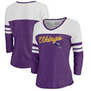 Minnesota Vikings NFL Pro Line by Fanatics Branded Women's Timeless Collection Rising Script Color Block 3/4 Sleeve Tri-Blend T-