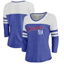 New York Giants NFL Pro Line by Fanatics Branded Women's Timeless Collection Rising Script Color Block 3/4 Sleeve Tri-Blend T-Sh