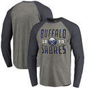 Buffalo Sabres Fanatics Branded Timeless Collection Antique Stack Tri-Blend Long Sleeve Raglan T-Shirt - Ash