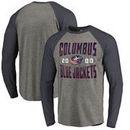 Columbus Blue Jackets Fanatics Branded Timeless Collection Antique Stack Tri-Blend Long Sleeve Raglan T-Shirt - Ash