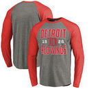 Detroit Red Wings Fanatics Branded Timeless Collection Antique Stack Tri-Blend Long Sleeve Raglan T-Shirt - Ash