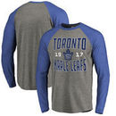 Toronto Maple Leafs Fanatics Branded Timeless Collection Antique Stack Tri-Blend Long Sleeve Raglan T-Shirt - Ash