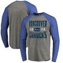 Vancouver Canucks Fanatics Branded Timeless Collection Antique Stack Tri-Blend Long Sleeve Raglan T-Shirt - Ash