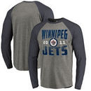 Winnipeg Jets Fanatics Branded Timeless Collection Antique Stack Tri-Blend Long Sleeve Raglan T-Shirt - Ash