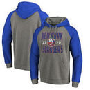 New York Islanders Fanatics Branded Timeless Collection Antique Stack Tri-Blend Raglan Pullover Hoodie - Ash