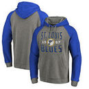 St. Louis Blues Fanatics Branded Timeless Collection Antique Stack Tri-Blend Raglan Pullover Hoodie - Ash