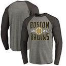 Boston Bruins Fanatics Branded Timeless Collection Antique Stack Big & Tall Tri-Blend Long Sleeve Raglan T-Shirt - Ash
