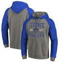 Toronto Maple Leafs Fanatics Branded Timeless Collection Antique Stack Big & Tall Tri-Blend Raglan Pullover Hoodie - Ash