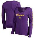 Minnesota Vikings NFL Pro Line by Fanatics Branded Women's High Class V-Neck Long Sleeve T-Shirt - Purple