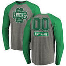 Baltimore Ravens NFL Pro Line by Fanatics Branded Personalized Emerald Isle Long Sleeve Tri-Blend Raglan T-Shirt - Ash