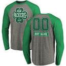 Green Bay Packers NFL Pro Line by Fanatics Branded Personalized Emerald Isle Long Sleeve Tri-Blend Raglan T-Shirt - Ash