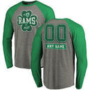 Los Angeles Rams NFL Pro Line by Fanatics Branded Personalized Emerald Isle Long Sleeve Tri-Blend Raglan T-Shirt - Ash