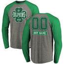Miami Dolphins NFL Pro Line by Fanatics Branded Personalized Emerald Isle Long Sleeve Tri-Blend Raglan T-Shirt - Ash