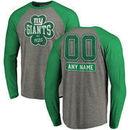 New York Giants NFL Pro Line by Fanatics Branded Personalized Emerald Isle Long Sleeve Tri-Blend Raglan T-Shirt - Ash