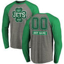 New York Jets NFL Pro Line by Fanatics Branded Personalized Emerald Isle Long Sleeve Tri-Blend Raglan T-Shirt - Ash