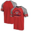 Washington Nationals Fanatics Branded Cooperstown Collection Vintage Arch Tri-Blend Raglan T-Shirt - Red