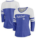 Toronto Maple Leafs Fanatics Branded Women's Timeless Collection Rising Script Color Block 3/4 Sleeve Tri-Blend T-Shirt - Royal