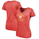 Calgary Flames Fanatics Branded Women's Timeless Collection Vintage Arch Tri-Blend V-Neck T-Shirt - Red