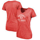 Detroit Red Wings Fanatics Branded Women's Timeless Collection Vintage Arch Tri-Blend V-Neck T-Shirt - Red
