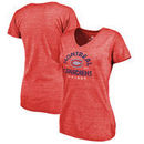 Montreal Canadiens Fanatics Branded Women's Timeless Collection Vintage Arch Tri-Blend V-Neck T-Shirt - Red